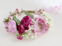Flower Crown Floral Headband Fuchsia Crown by LolaWhiteShop