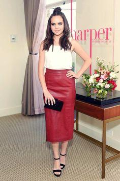 Bailee Madison attends harper x Harper's BAZAAR #leatherskirt red leather maxi skirt
