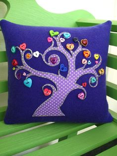 Recycled Purple Cashmere Tree of Love Pillow by tallulahssatchels, $37.00