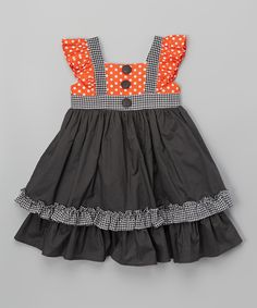 Love this Lele Vintage Charcoal & Orange Polka Dot Angel-Sleeve Dress - Toddler & Girls by Lele Vintage on #zulily! #zulilyfinds