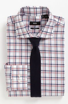Classy business casual: BOSS Black dress shirt & Nordstrom knit tie.