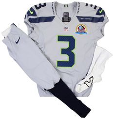 The uniform worn by @Seattle Seahawks QB Russell Wilson in Week 15 when he became the first player ever to have 3 rushing TDs and a TD pass in the first half of a NFL game has arrived in Canton. Click on the image for more details. #Seahawks