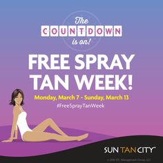 You new favorite week is almost here #FreeSprayTanWeek!!! Coming Soon to your favorite Sun Tan City location Monday, March 7-Sunday, March 13, 2016. Click for details! *Restrictions may apply. See salon for details.
