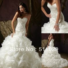 WD 296 Fancy sparkle beaded fitted bodice strapless bling wedding dresses ruffled organza skirt Omg!!