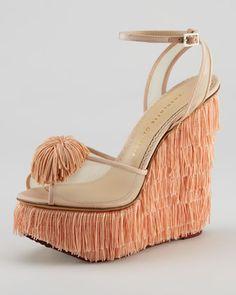 Charlotte Olympia : Gigi Fringe Wedge Sandal, Pink | Sumally