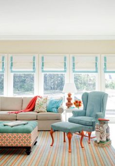 Attractive Blue Chair and Brown Sofa Sets with Colorful Rugs in Small Living Room Decorating Ideas