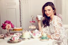 Miranda Kerr with the full #tea set which she designed for Royal Albert bone china ware.