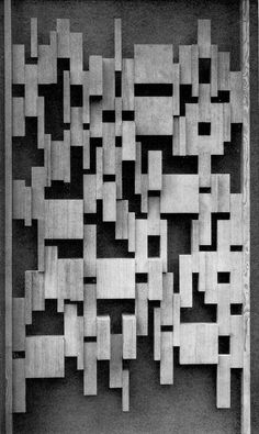 This piece of art uses contrast between negative and positive spaces to captivate the viewer's interest. It also uses forms of repetition, though some shapes repeat to form other shapes. Wood Patterns, Textures Patterns, Wall Sculptures, Sculpture Art, Wood Partition, Art Deco, Mid Century Modern Design, Art And Architecture, Installation Art