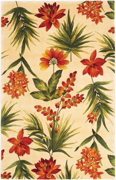 KAS Rugs Catalina x Rectangle Wool Hand Tufted Floral Area Cream Home Decor Rugs Area Rugs Tropical House Design, Tropical Interior, Tropical Home Decor, Tropical Houses, Tropical Furniture, Tropical Architecture, Area Rugs For Sale, Floral Area Rugs, Tropical Flowers