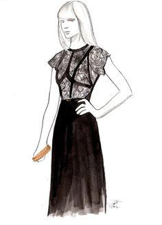 Black Lace, #watercolor by Jessica Durrant #illustration