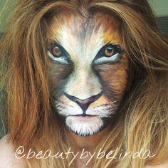 Lion face paint @beautybybelinda