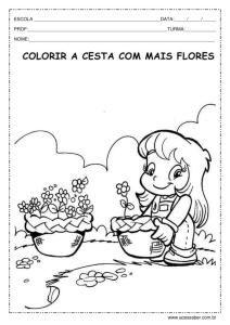 Pinte a cesta com mais flores