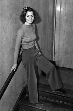 "Women in Pants  |  Seamwork Magazine || In 1938 Helen Hulick, a kindergarten teacher, arrived at a Los Angeles, California courtroom wearing pants. She was to testify in a burglary trial. The judge, infuriated by her choice of ensemble, sent her home, demanding she return in five days in a skirt. Hulick responded, ""You tell the judge I will stand on my rights. If he orders me to change into a dress I won't do it. I like slacks. They're comfortable."""