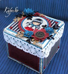 KalySto: Gorjuss stamps Mini Scrapbook Albums, Diy Scrapbook, Mini Albums, Diy And Crafts, Paper Crafts, Paint Cards, Exploding Boxes, Cardmaking, Decoupage