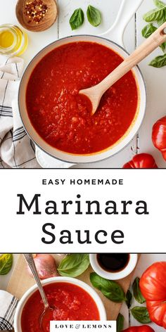 This homemade marinara sauce recipe is SO simple, and it tastes better than any store bought kind. Made with 10 basic ingredients, it's easy and delicious! Easy Marinara Sauce, Homemade Marinara, Pasta Marinara, Veggie Recipes, Dinner Recipes, Healthy Recipes, Xmas Recipes, Healthy Chef, Spring Recipes