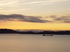 A ship passing by. Early morning. Skudeneshavn. Norway. Tone Lepsøes pictures.