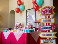 Carnival Party Dessert Table with vintage signs Carnival Birthday Parties, Circus Birthday, Birthday Party Decorations, Twin First Birthday, Happy Birthday Me, 3rd Birthday, Birthday Ideas, Madagascar Party, Party Desserts