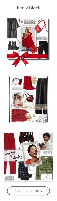 """Red &Black"" by belen-cool-look ❤ liked on Polyvore featuring Winter, black, red, trend, romwe, contestentry, beautifulme, A by Amara, Lanvin and Maison Margiela"