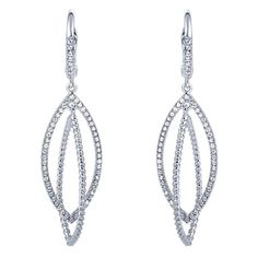 14KT WHITE GOLD LEVERBACK INTERTWINED OPEN MARQUISE SHAPE DROP DIAMOND DANGLE EARRINGS .45CT TOTAL WEIGHT #TheGemLabWishList