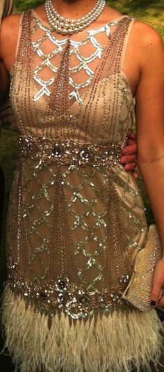 Sz 12 * SUE WONG Feather Flapper Dress 1920's GATSBY Bridal Wedding Champagne  | eBay