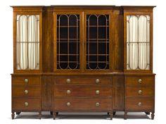 A Regency parcel ebonized mahogany breakfront bookcase  early 19th century…
