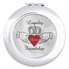 Shop Loyalty Love Friendship Claddagh Compact Mirror created by BlueRose_Design. Claddagh, Compact Mirror, Loyalty, Heart Shapes, Mirrors, I Shop, Vibrant Colors, Friendship, Love