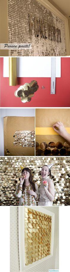 Fundo prateado- podemos fazer com papel contact metálico  Os 'paetês'- podem ser feitos de papel brilhoso usando um furador circular (ferramenta para scrapbook) ou cortando na munheca mesmo  Para prender - preguinhos se for fazer na parede ou alfinetes/tachinhas se quiser fazer um quadro (sugiro fazer num quadro de cortiça). Pde ser feito também em um quadro ou painel.