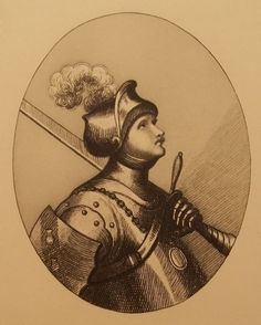 Vintage Etching Print Knight in Suit of Armor