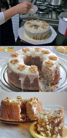 Bolo de Nozes #BolodeNozes #Receitatodahora Other Recipes, My Recipes, Favorite Recipes, Food N, Food And Drink, Cookie Dough Frosting, Pastel Cakes, My Cookbook, Sweets Recipes