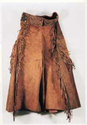 Cowgirl skirt; fringed; C.P. Shipley maker-mark; glove-finish; circa 1915; sold for $3,960. Photo courtesy of High Noon.