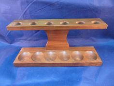 Vintage Decatur Pipe Stand Rack Walnut Mid-Century USA Holds 6 Pipes #DecaturIndustries