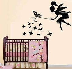 Vinyl Wall Decal Baby Nursery Kids Room Erfly Fairy 0265 16 00