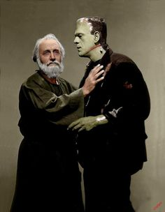 Boris Karloff as the monster and O.P. Heggie as the hermit in The Bride of Frankenstein, 1935. (Colorized)