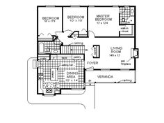 Farmhouse Style House Plan - 3 Beds 2 Baths 1273 Sq/Ft Plan #18-1023 Floor Plan - Main Floor Plan - Houseplans.com