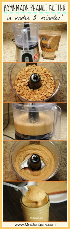 Nothing could be simpler than homemade peanut butter! This step-by-step guide shows you how to easily make your own peanut in under 5 minutes, with just ONE ingredient (peanuts! (How To Make Butter Treats) Homemade Peanut Butter, Peanut Butter Recipes, I Love Food, Good Food, Yummy Food, Dips, Sans Gluten Vegan, Chutney, Little Lunch