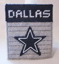 Dallas Cowboys tissue box cover in plastic canvas (pattern) - $2.50