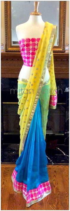 Raw silk and georgette saree