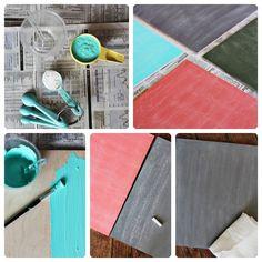 Mezclar una cucharada bien colmada de yeso con 1/2 taza de pintura acrílica negra. Mezclar bien hasta que no queden grumos.    Luego, pintar la superficie con un pincel. La pintura endurece rápidamente, motivo por el cual no puede almacenarse y utilizarse más tarde. Diy Chalkboard Paint, Chalk Paint, Handmade Crafts, Diy Crafts, Diy Tutorial, Art For Kids, Decoupage, Projects To Try, How To Make
