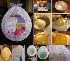 Balloon and String Easter Egg Craft | DIY Cozy Home  If some felt could be added at the bottom and one used wool yarn, these would make pretty hanging birdhouses. I'd make them smaller, too, for added strength.