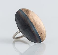 Gibbous+Eclipse+Ring by Leia+Zumbro: Steel+and+Brass+Ring available at www.artfulhome.com