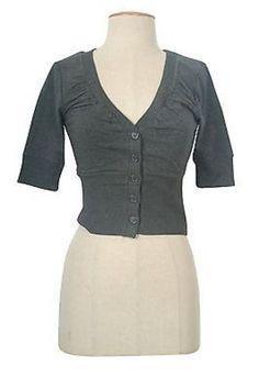 Cute V Neck 3/4 Sleeve Open Front Button Down Shrug Bolero Cropped Cardigan Top
