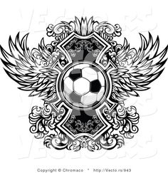 Vector of a Soccer Ball over Ornate Wings Icon - Black and White Version