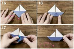 This very simple traditional origami model makes a sweet decoration perfect at a kids party, great table place cards or use as a card embellishment!: Origami Sail Boat Tutorial Final Step