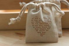 muslin gift bags ScRiPtiVe HeArT x10, wedding muslin favor bag, baby shower favor, goody bag for baked goods,soaps,candies