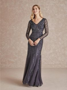 Adrianna Papell 40283 Long Sleeve Beaded Gown Beaded Chiffon, Beaded Gown, Bridesmaid Dresses, Prom Dresses, Formal Dresses, Dress For You, Evening Dresses, Adrianna Papell, Blush Bridal