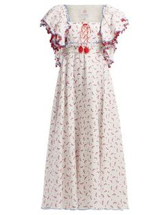 Gül Hürgel - Floral And Grid-print Linen Midi Dress - Womens - White Print Printed Linen, Printed Cotton, Boho Chic, Gypsy, Beach Wear Dresses, Summer Outfits, Summer Dresses, Beautiful Outfits, Beautiful Clothes