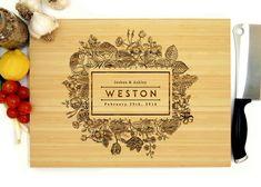 Personalized Cutting Board, Custom Wedding Gift, Flower Frame Monogram, Housewarming Gift, Christmas Gift, Anniversary Gift