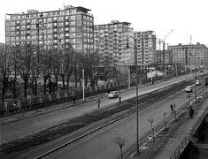 """Vlastne len pre tých, ktorí majú vzťah k tejto lokalite, Račko asi 1960, dostavba """"červených"""" panelákov. Kvalita originálu bola dosť slabá. Bratislava, Old Photos, Railroad Tracks, Street View, Retro, Jar, Technology, Historia, Old Pictures"""