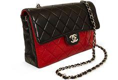 30ab3187bbff2 Chanel Red   Black Lambskin Flap Bag on OneKingsLane.com