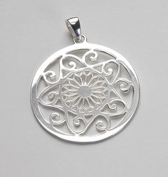 """Southern Gates Sterling Silver Pendant """"Scrollwork"""" – Large"""